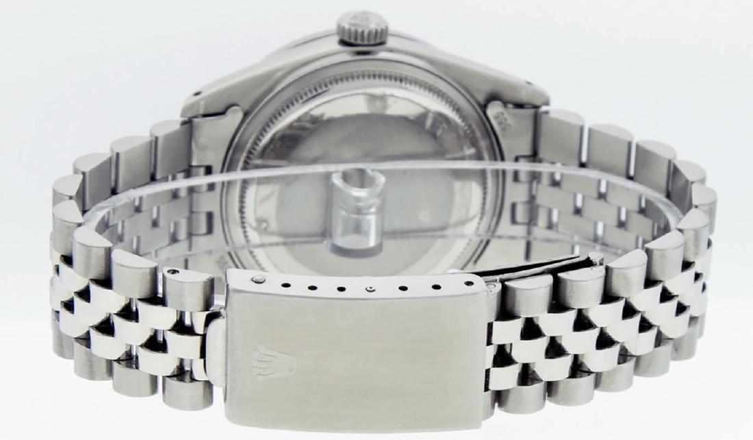 Rolex Mens Stainless Steel Black String Diamond 36MM - 8