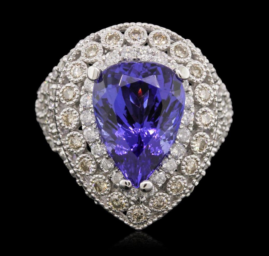 14KT White Gold 9.78 ctw Tanzanite and Diamond Ring - 2