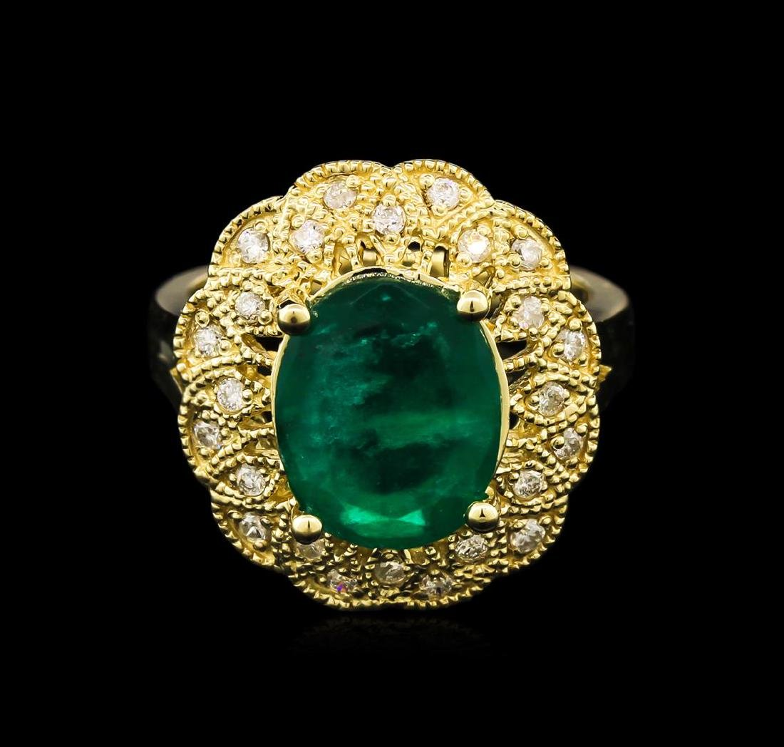 3.38 ctw Emerald and Diamond Ring - 14KT Yellow Gold - 2