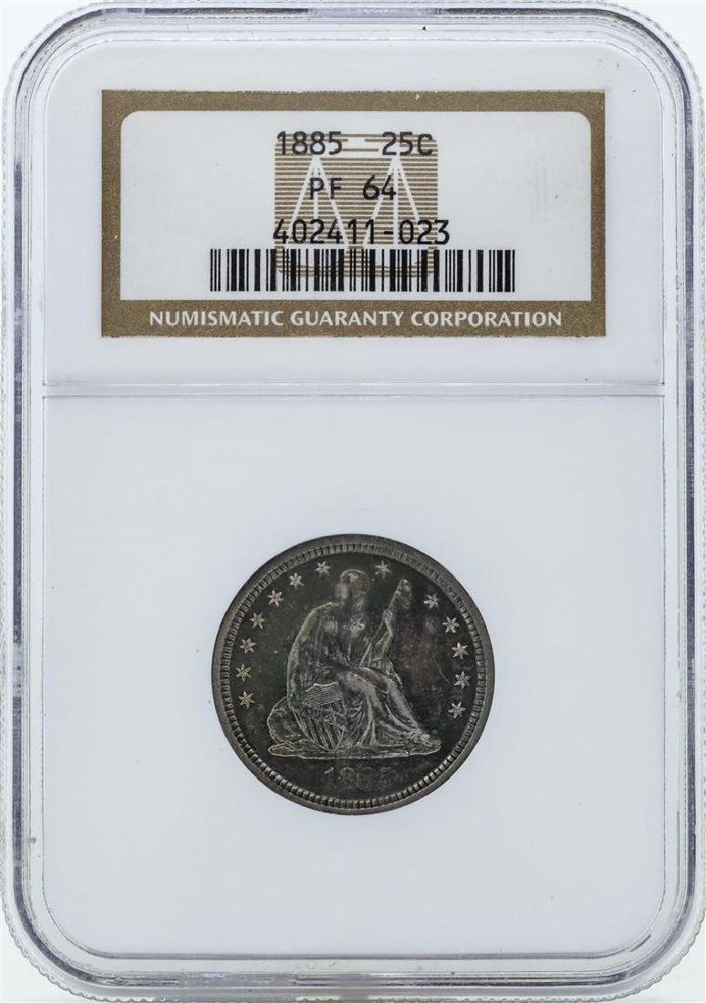 1885 Seated Liberty Proof Quarter Coin NGC PF64