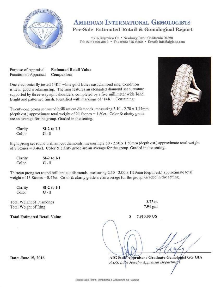 2.73 ctw Diamond Ring - 14KT White Gold - 5