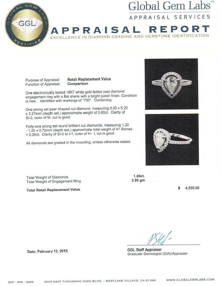18KT White Gold 1.06 ctw Diamond Ring - 3