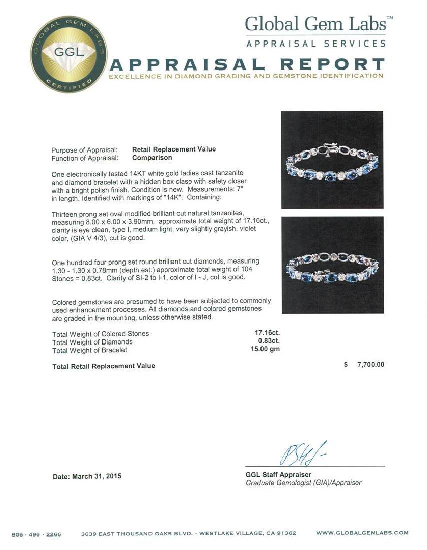 14KT White Gold 17.16 ctw Tanzanite and Diamond - 4