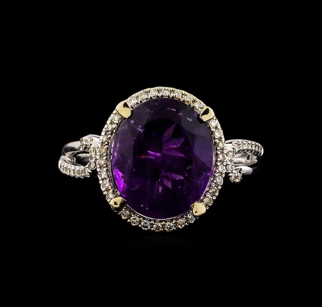 14KT White Gold 3.95 ctw Amethyst and Diamond Ring - 2