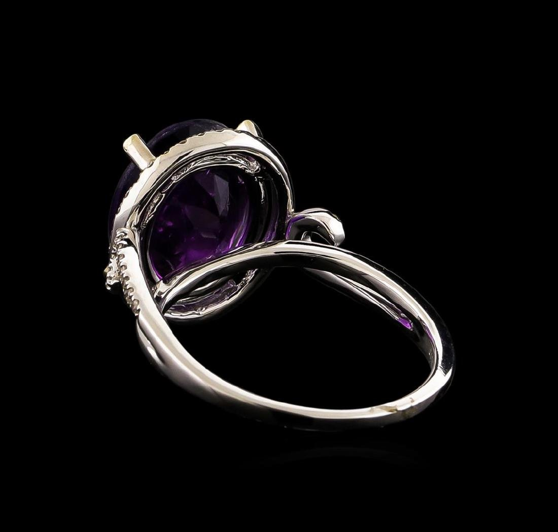 14KT White Gold 3.95 ctw Amethyst and Diamond Ring - 3