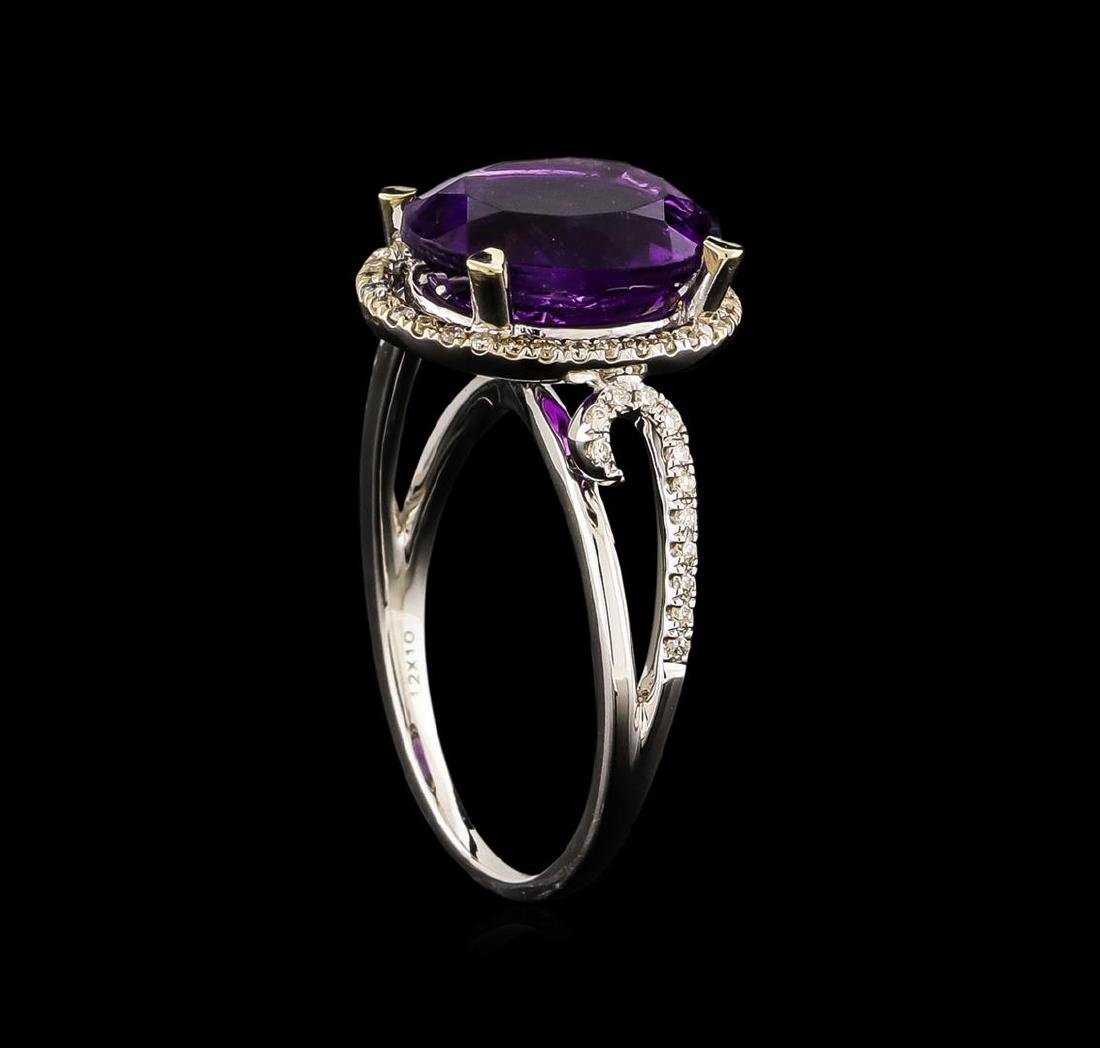 14KT White Gold 3.95 ctw Amethyst and Diamond Ring - 4