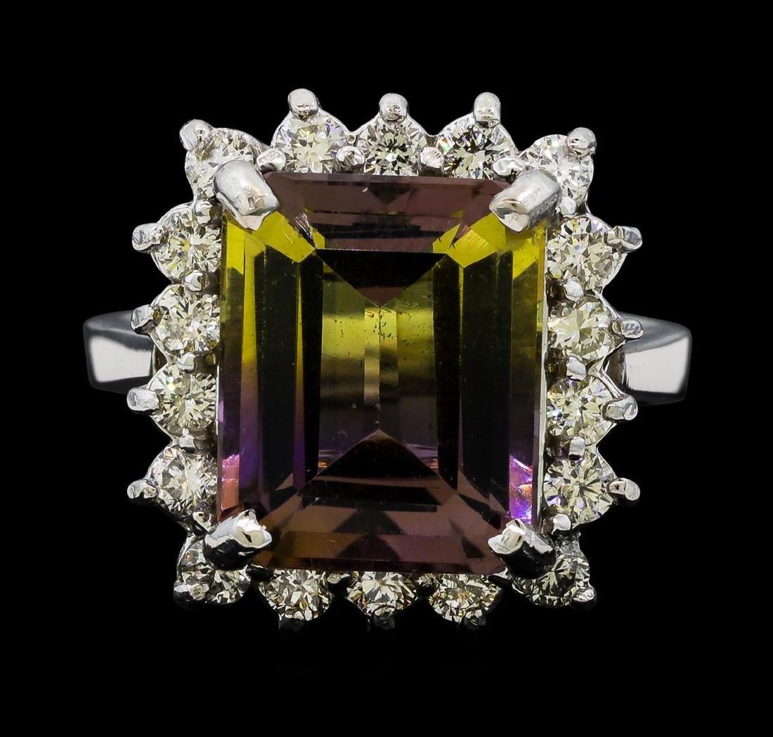 7.70 ctw Morganite and Diamond Ring - 14KT White Gold - 2
