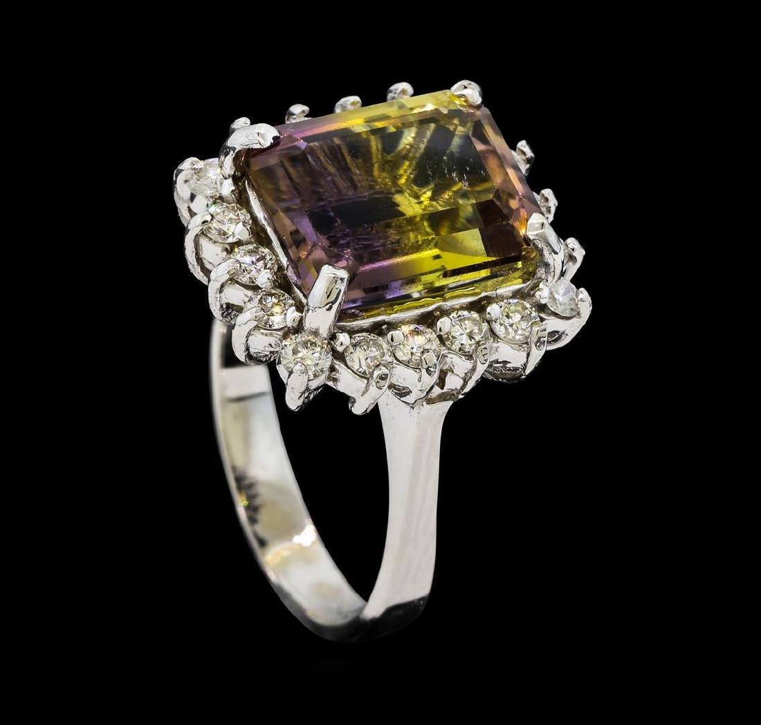 7.70 ctw Morganite and Diamond Ring - 14KT White Gold - 4
