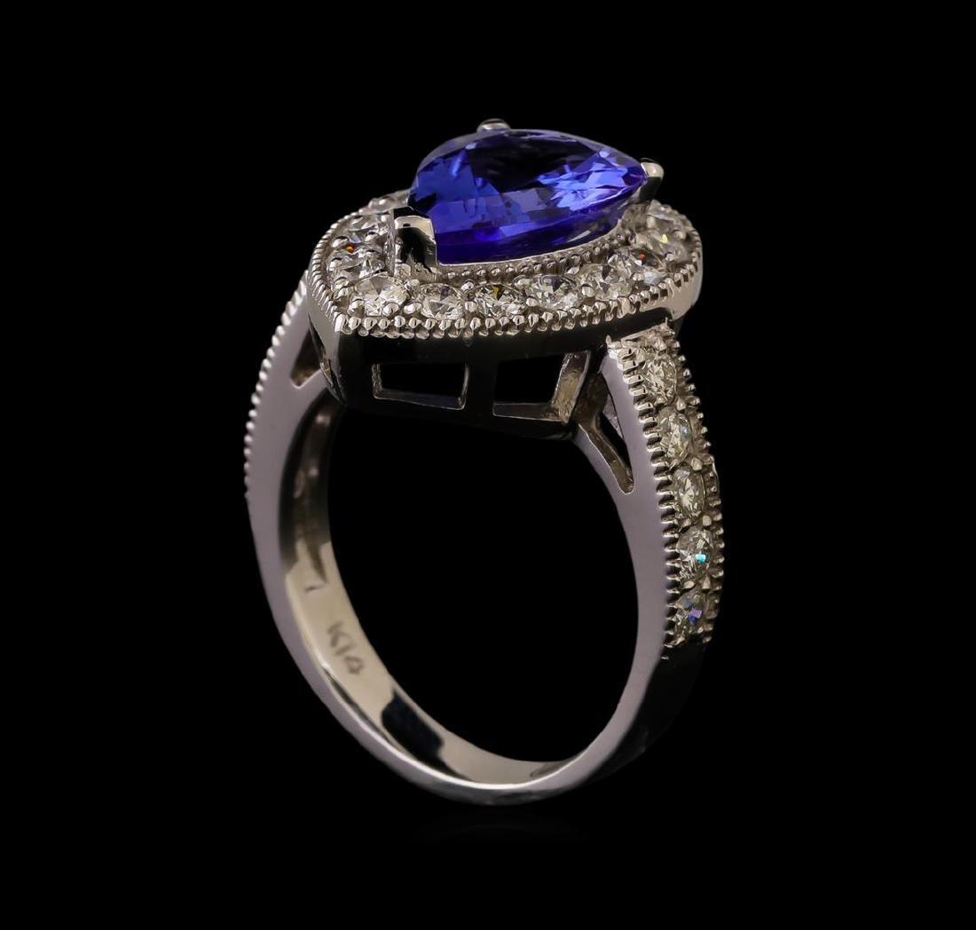 14KT White Gold 3.04 ctw Tanzanite and Diamond Ring - 4