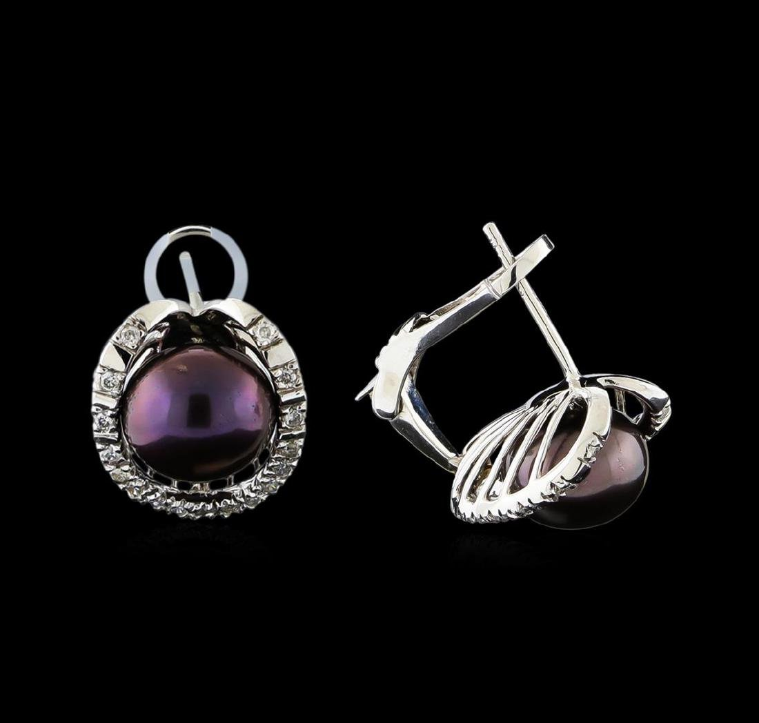 Pearl and Diamond Earrings - 14KT White Gold - 2