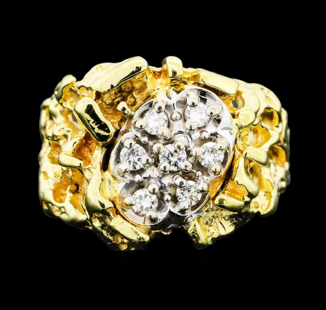 0.25 ctw Diamond Nature Ring - 14KT Yellow Gold - 2