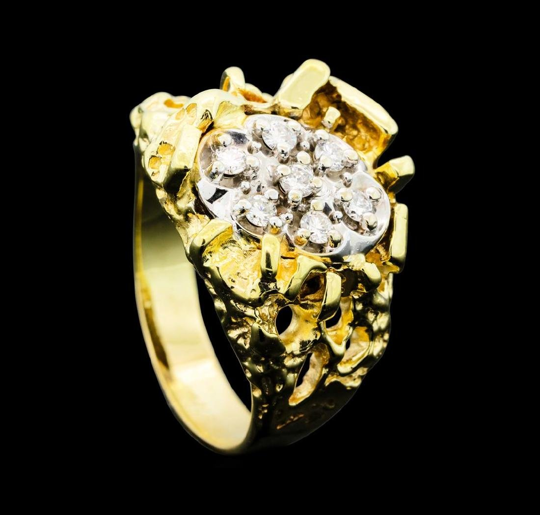 0.25 ctw Diamond Nature Ring - 14KT Yellow Gold - 4