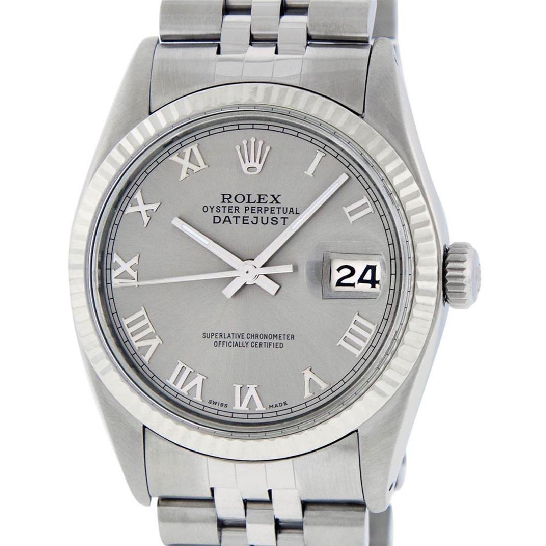 Rolex Mens Stainless Steel 36MM Slate Grey Roman - 2
