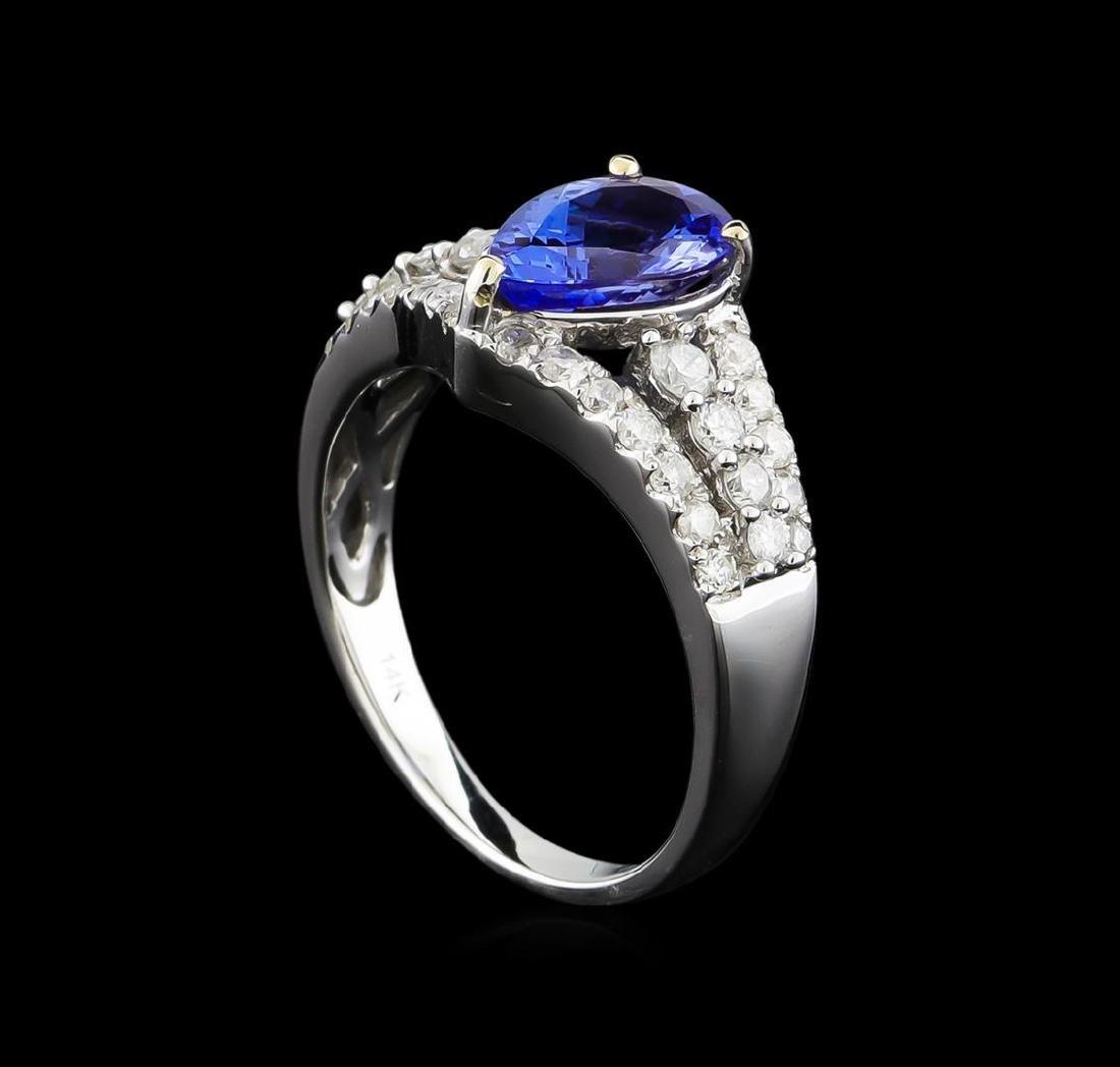 14KT White Gold 1.88 ctw Tanzanite and Diamond Ring - 4