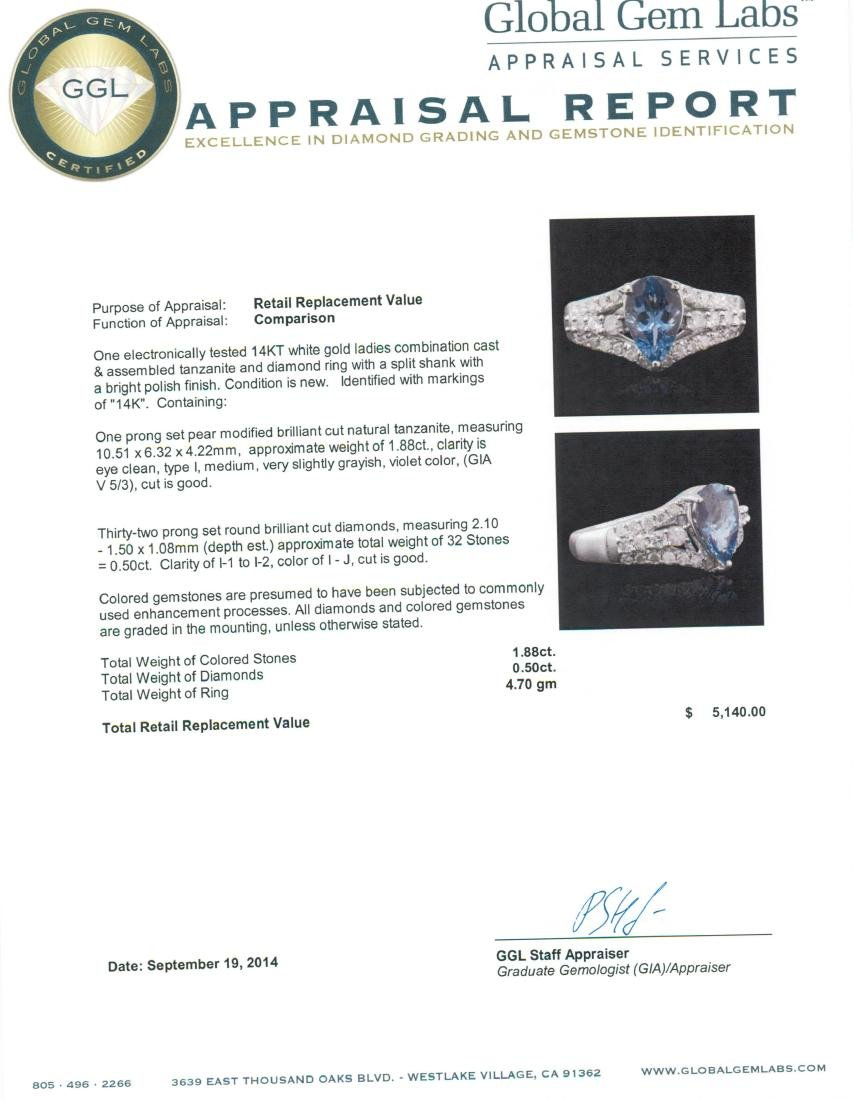 14KT White Gold 1.88 ctw Tanzanite and Diamond Ring - 5