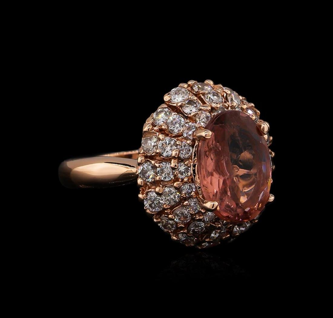 3.70 ctw Tourmaline and Diamond Ring - 14KT Rose Gold