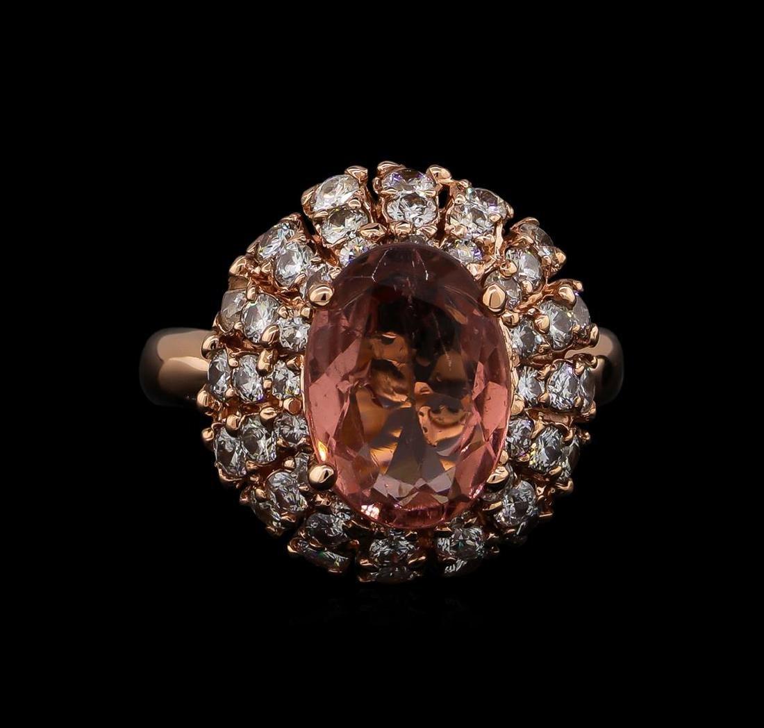 3.70 ctw Tourmaline and Diamond Ring - 14KT Rose Gold - 2
