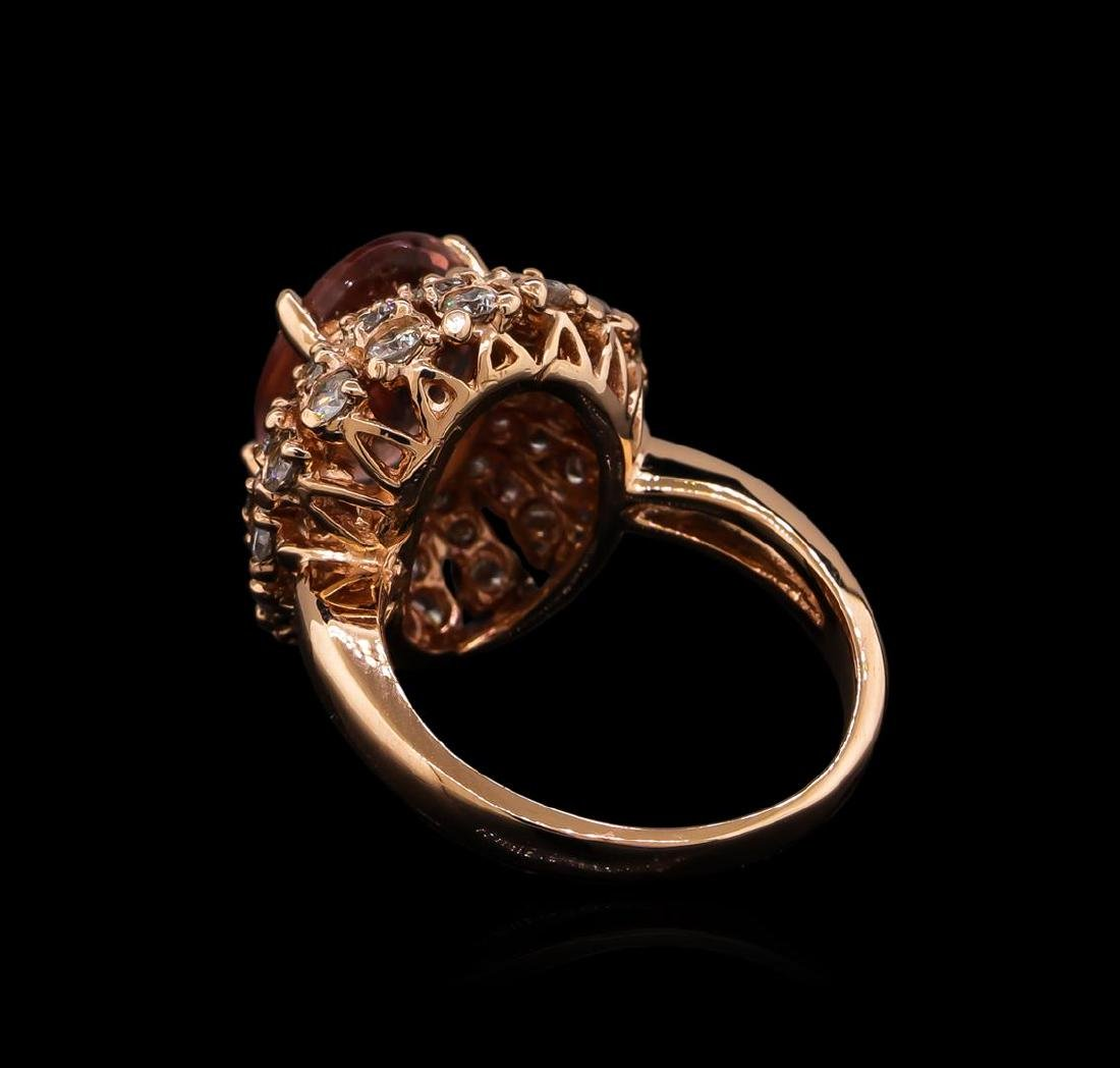 3.70 ctw Tourmaline and Diamond Ring - 14KT Rose Gold - 3