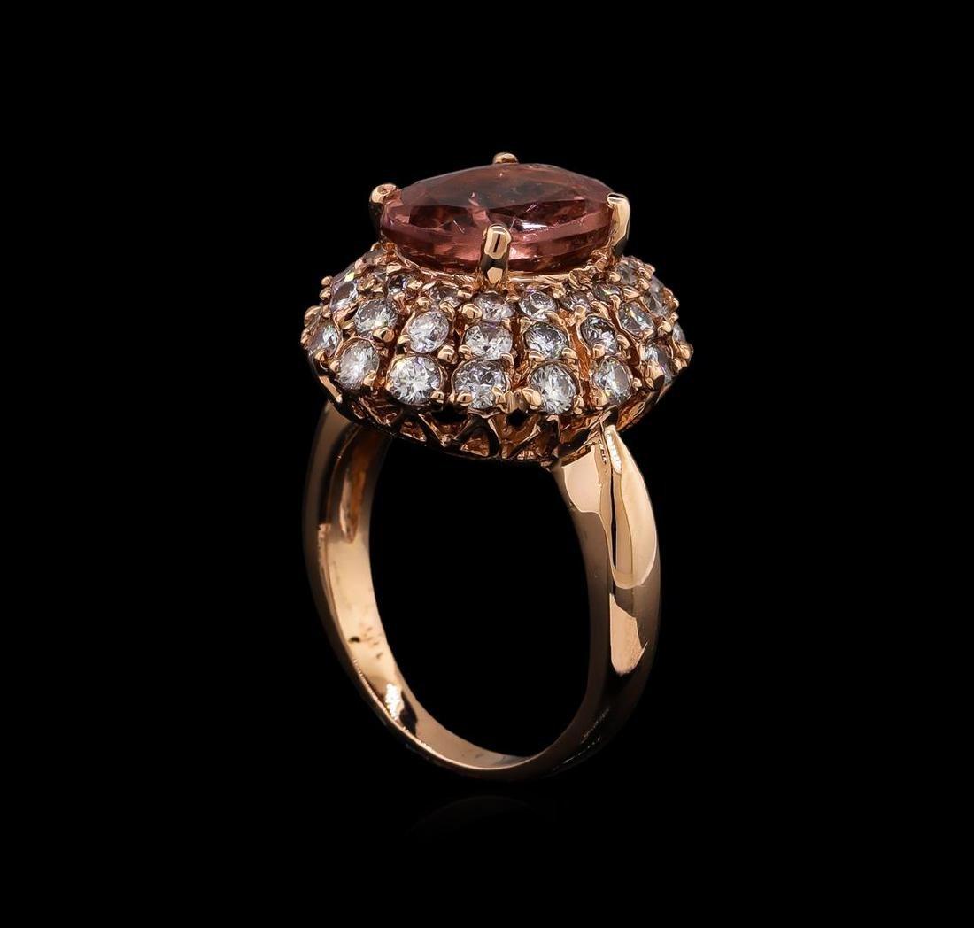 3.70 ctw Tourmaline and Diamond Ring - 14KT Rose Gold - 4