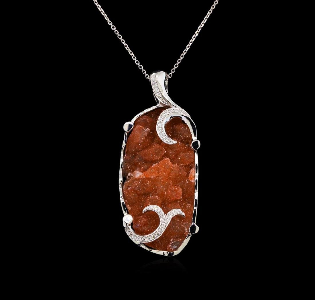18.00 ctw Citrine and Diamond Pendant With Chain - 14KT