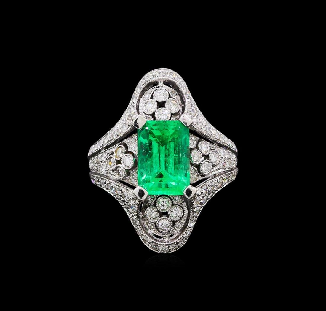 2.95 ctw Emerald and Diamond Ring - 18KT White Gold - 2