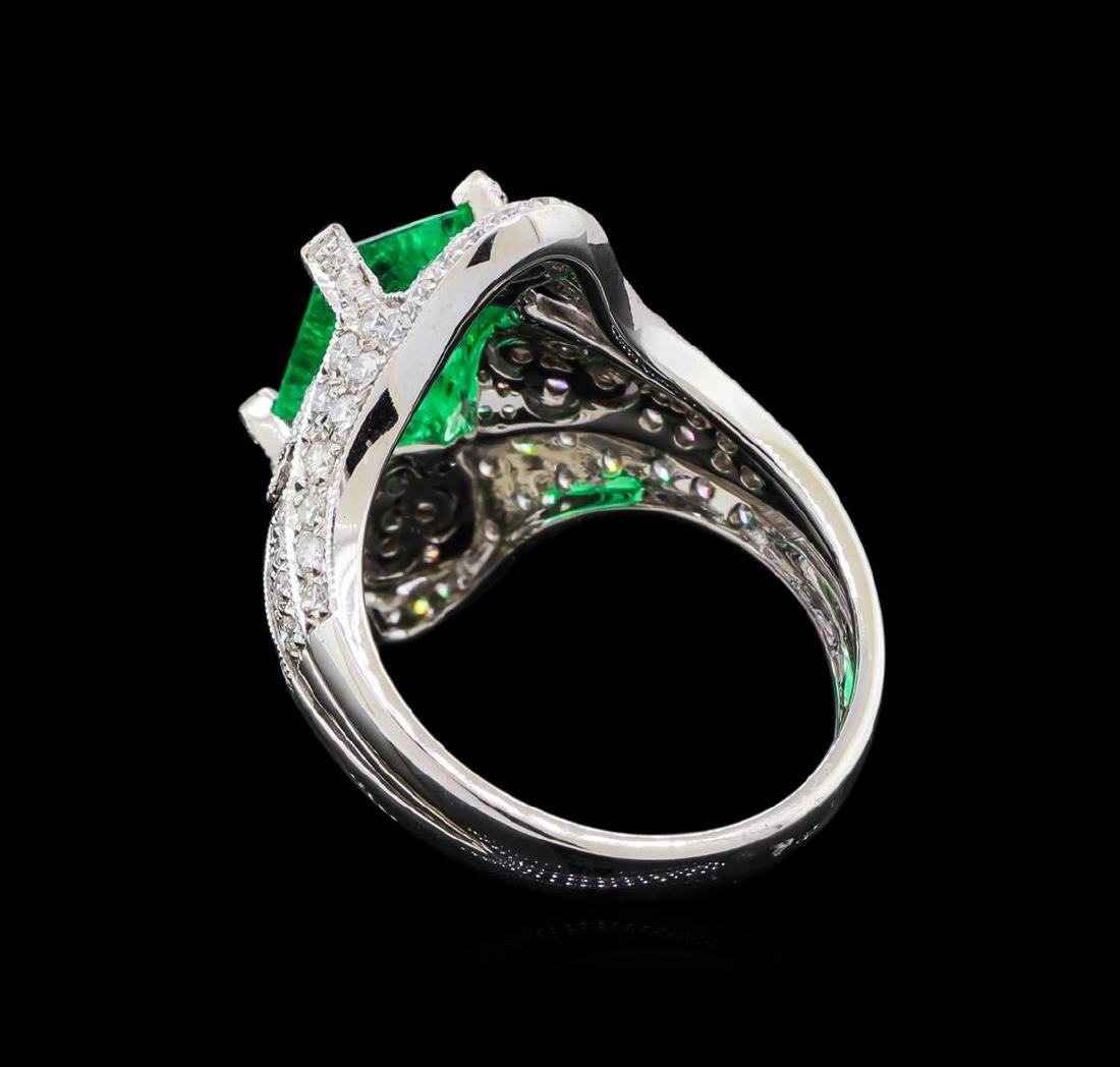 2.95 ctw Emerald and Diamond Ring - 18KT White Gold - 3