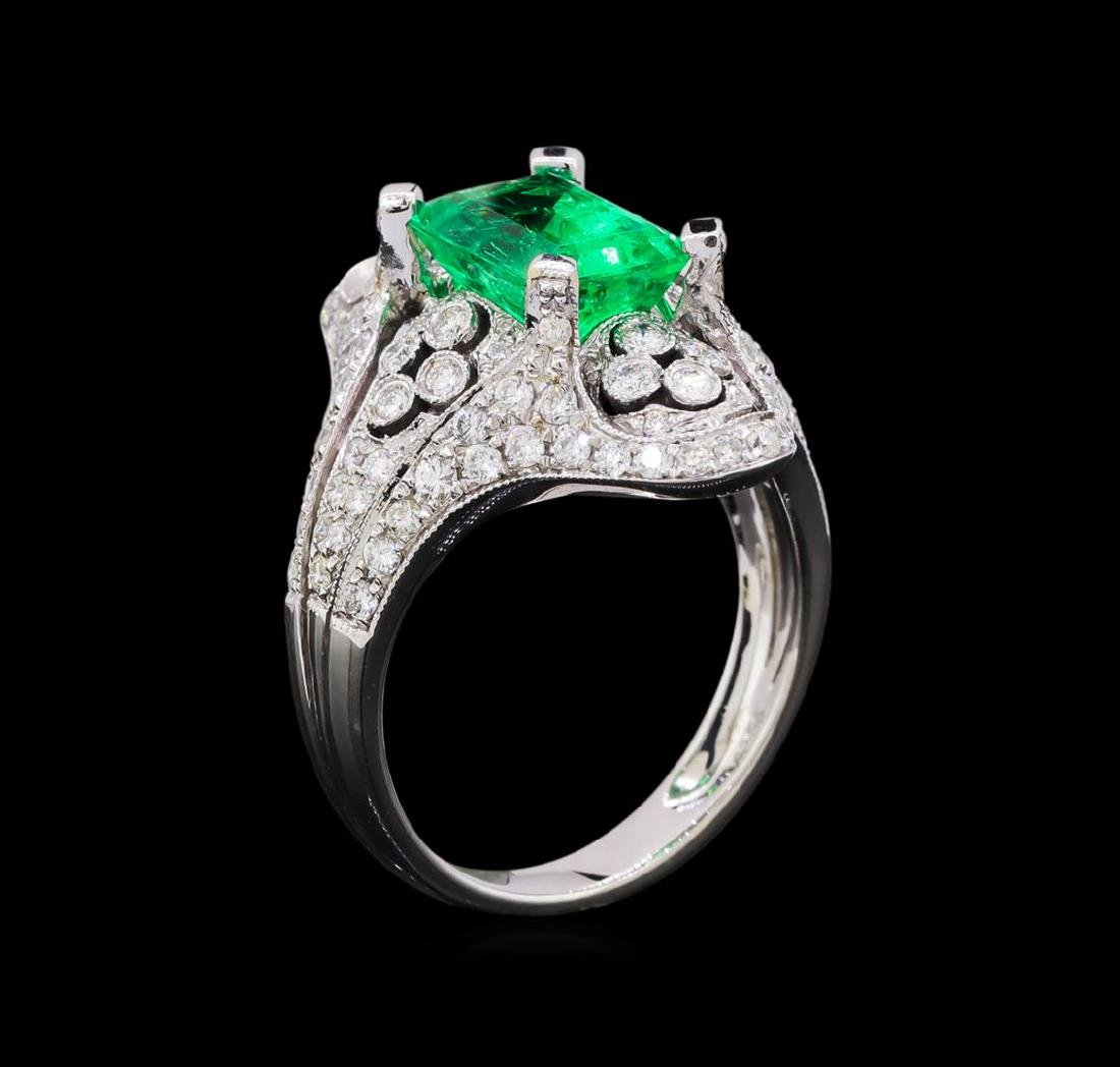 2.95 ctw Emerald and Diamond Ring - 18KT White Gold - 4