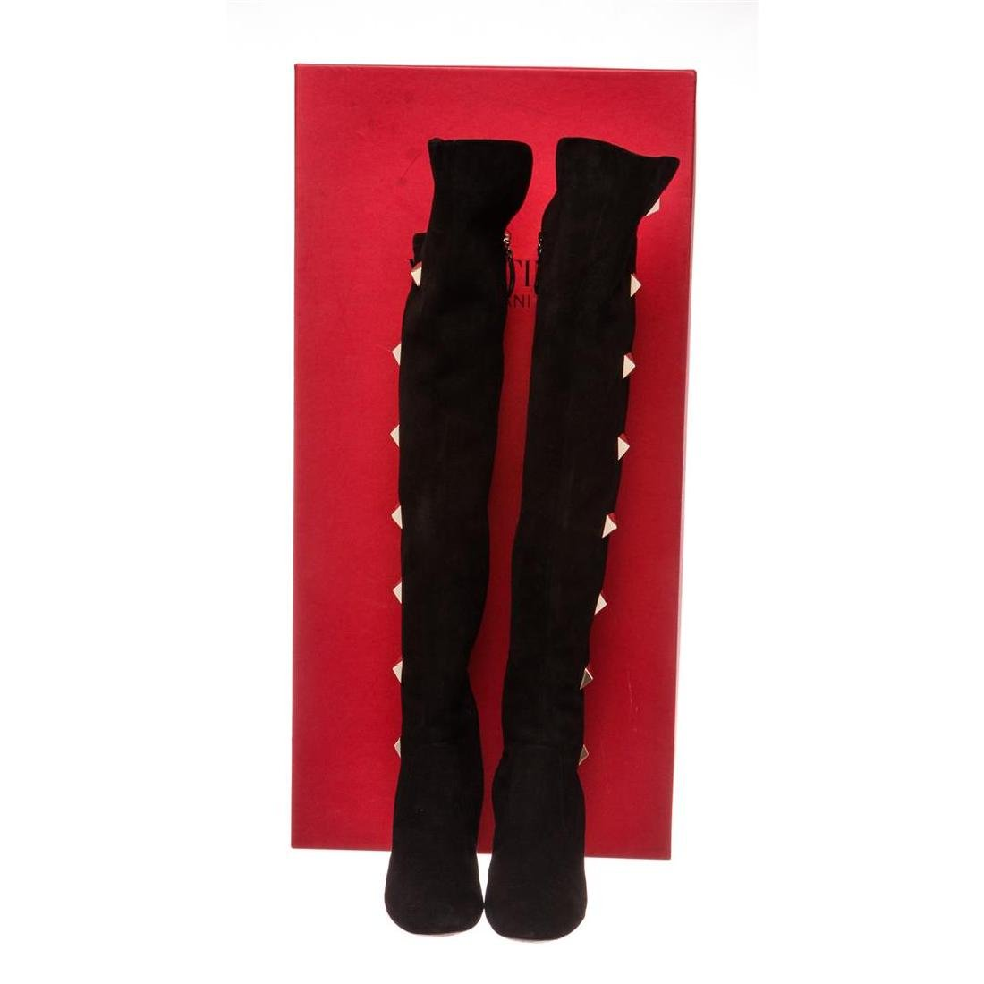 Valentino Black Suede Rockstud Over-The-Knee Boots - 2