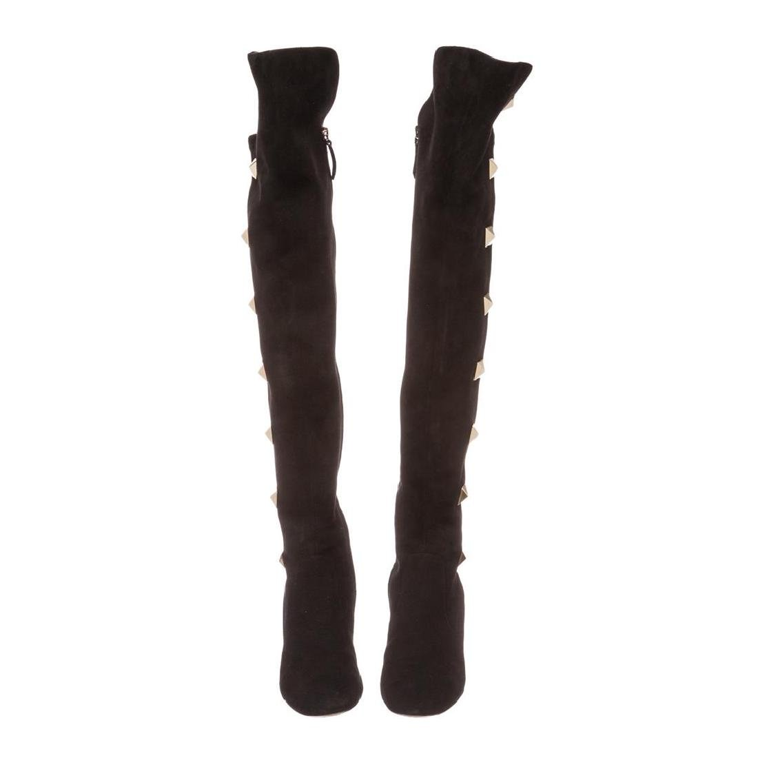 Valentino Black Suede Rockstud Over-The-Knee Boots - 3