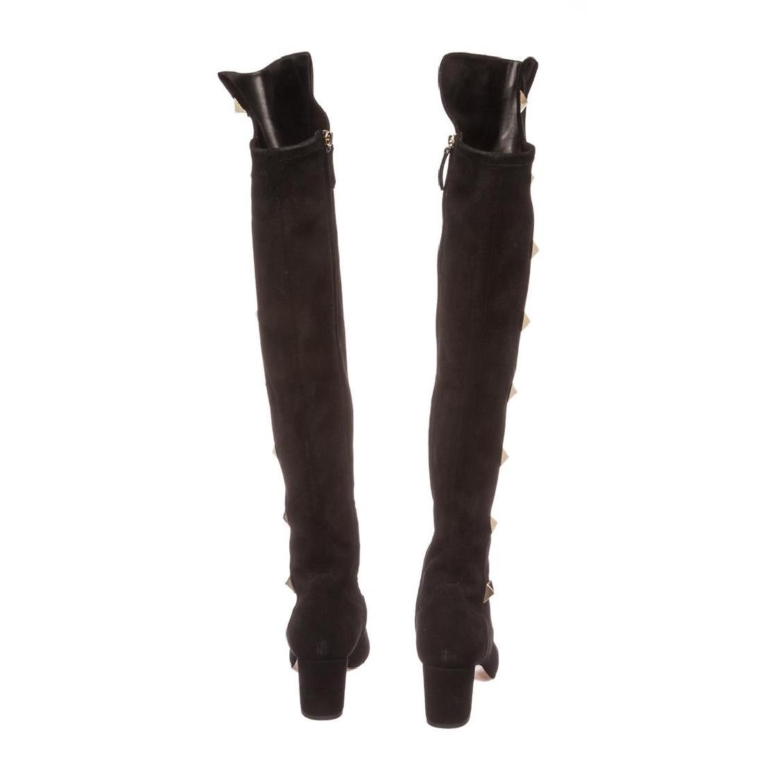 Valentino Black Suede Rockstud Over-The-Knee Boots - 4