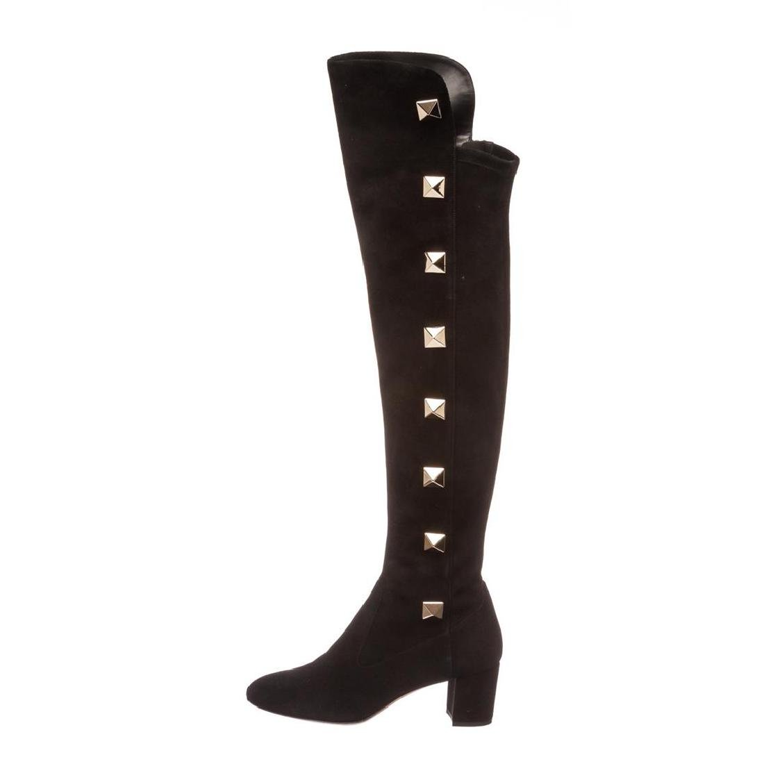 Valentino Black Suede Rockstud Over-The-Knee Boots - 5
