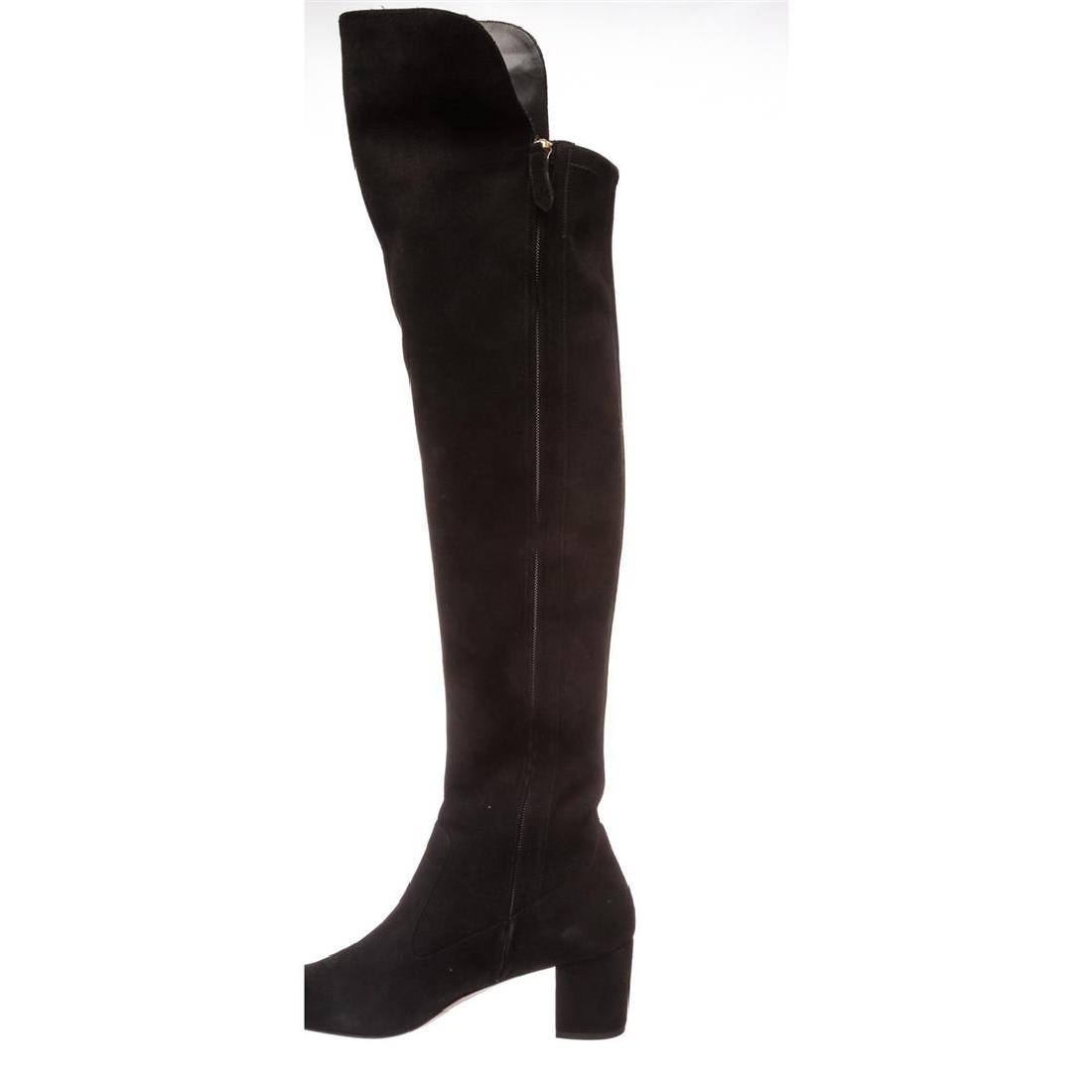 Valentino Black Suede Rockstud Over-The-Knee Boots - 8
