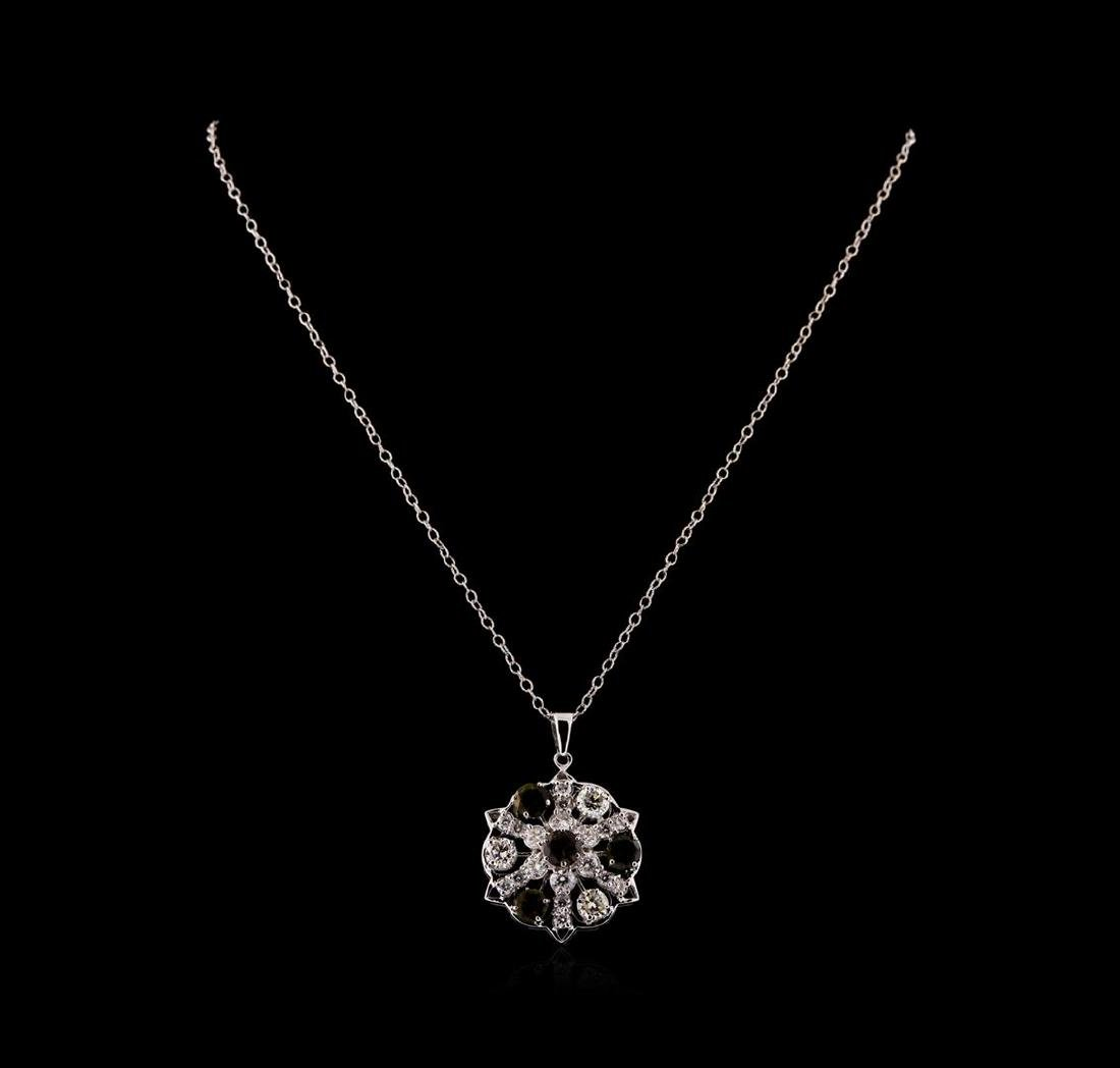 2.10 ctw Tourmaline and Diamond Pendant With Chain - - 2