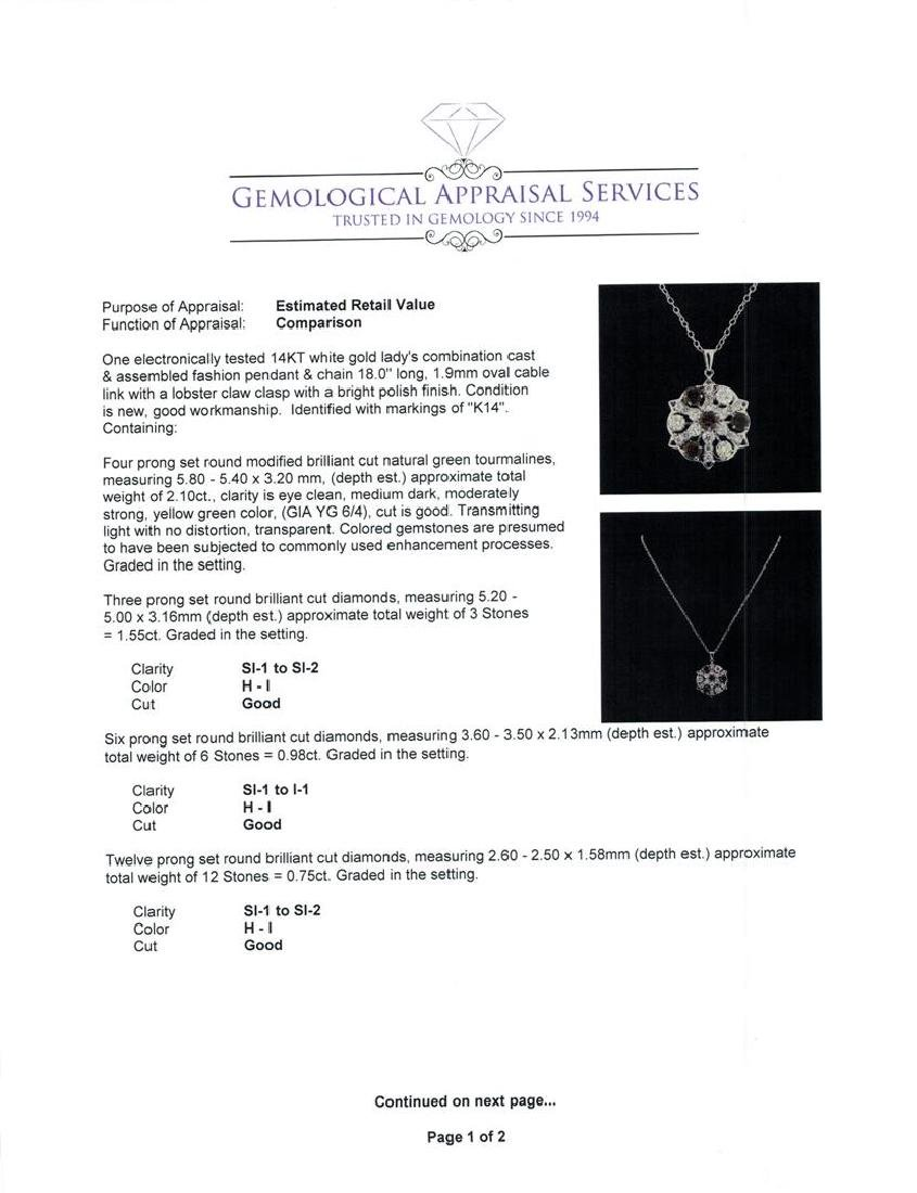 2.10 ctw Tourmaline and Diamond Pendant With Chain - - 3