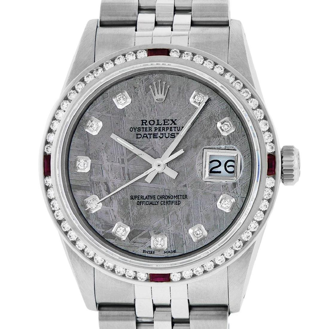 Rolex Mens SS Meteorite Diamond & Ruby Channel Set