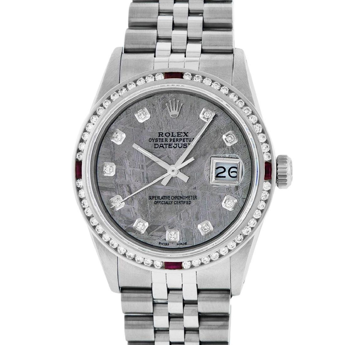 Rolex Mens SS Meteorite Diamond & Ruby Channel Set - 2
