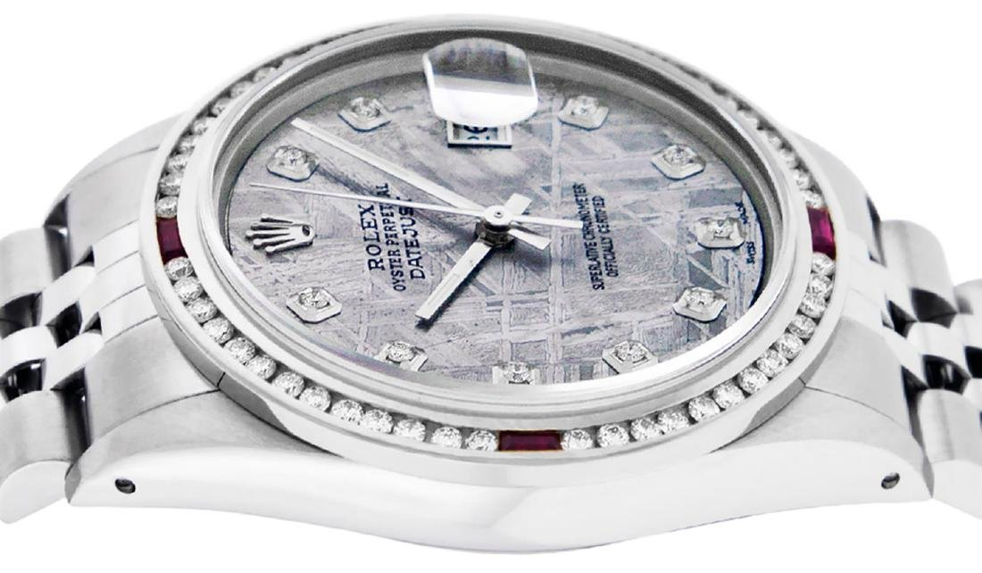 Rolex Mens SS Meteorite Diamond & Ruby Channel Set - 3