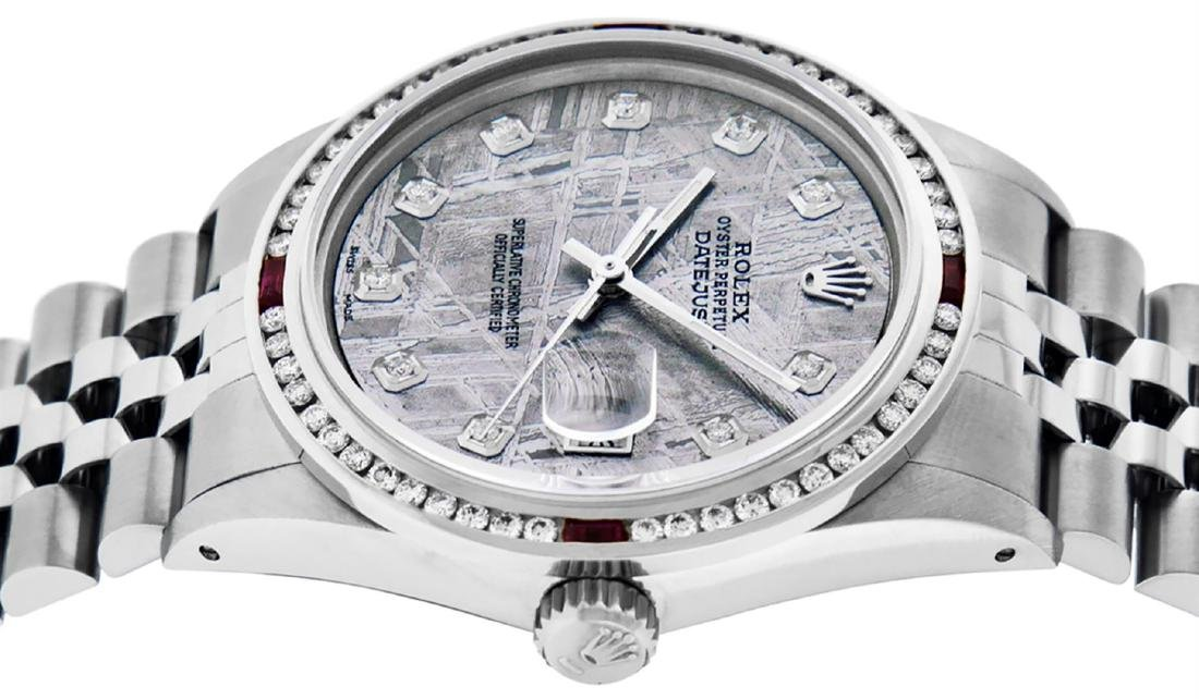 Rolex Mens SS Meteorite Diamond & Ruby Channel Set - 4