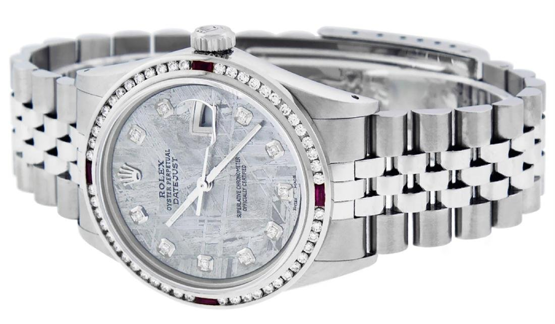 Rolex Mens SS Meteorite Diamond & Ruby Channel Set - 5