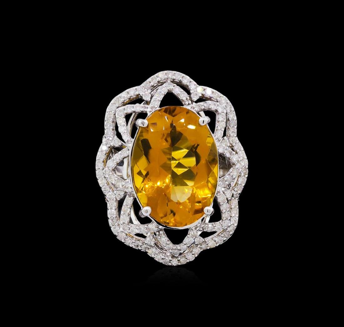 14KT White Gold 10.91 ctw Citrine and Diamond Ring - 2