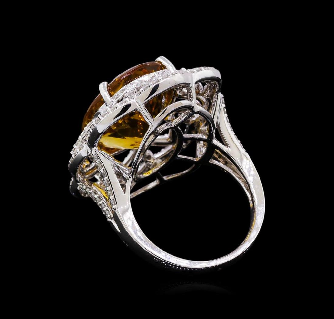14KT White Gold 10.91 ctw Citrine and Diamond Ring - 3