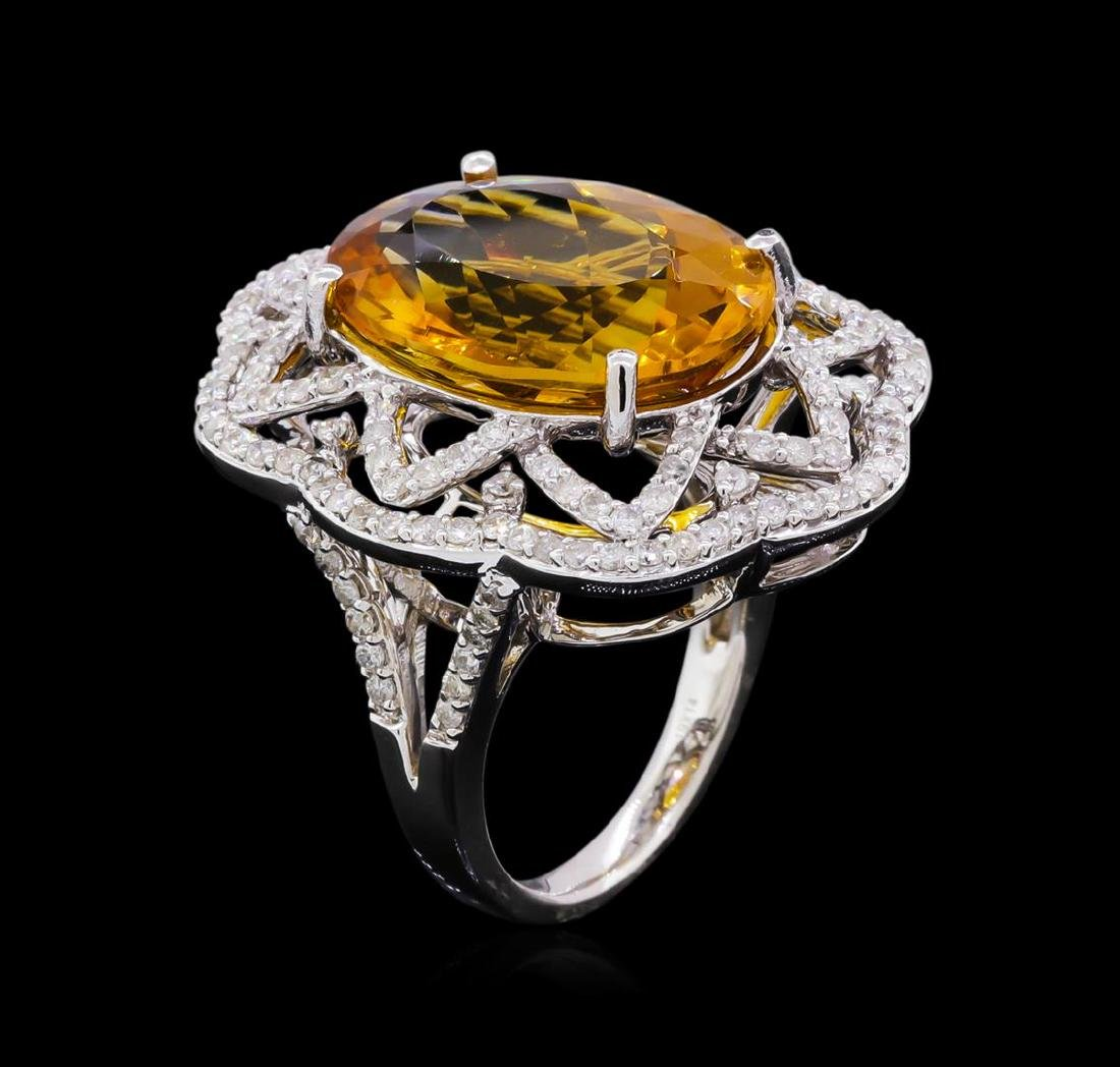14KT White Gold 10.91 ctw Citrine and Diamond Ring - 4