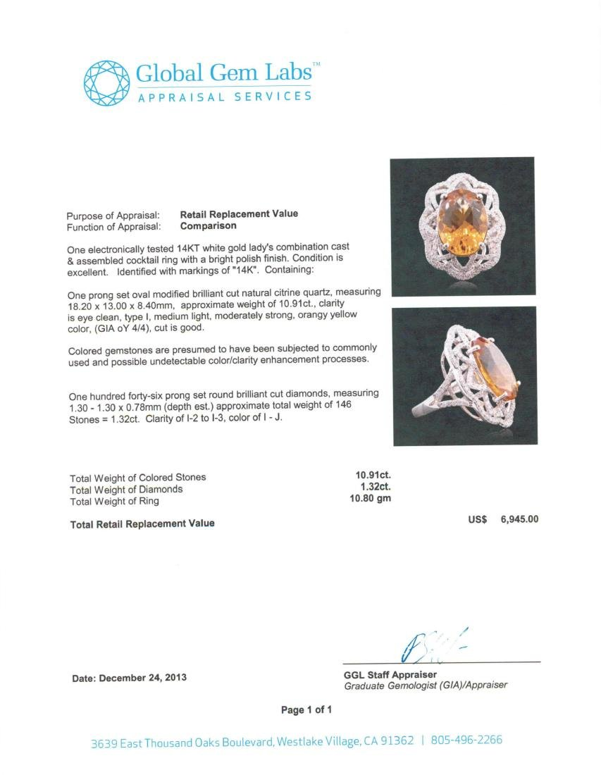 14KT White Gold 10.91 ctw Citrine and Diamond Ring - 5