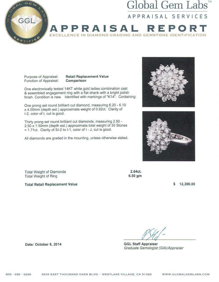 14KT White Gold 2.64 ctw Diamond Ring - 5