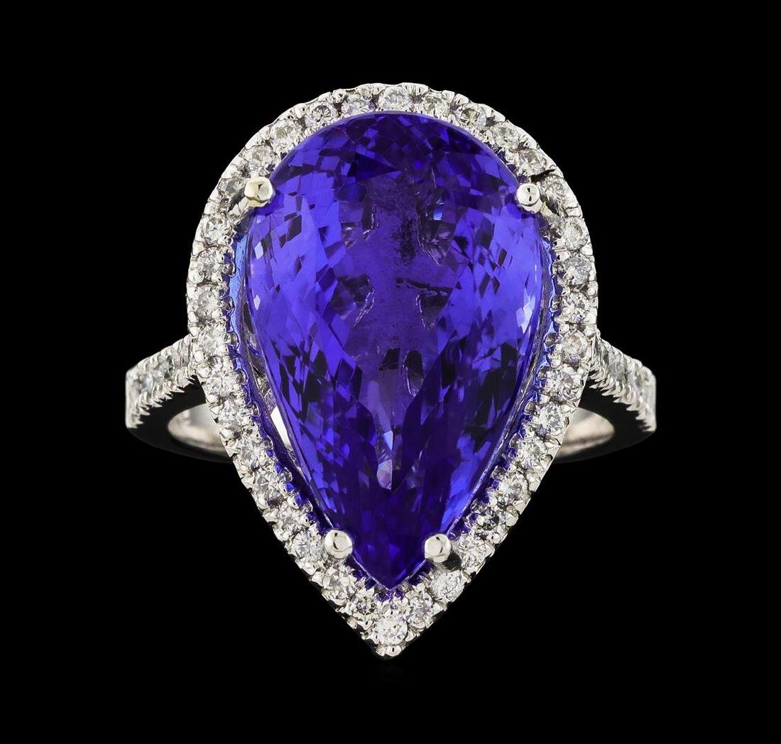 GIA Cert 14.31 ctw Tanzanite and Diamond Ring - 14KT - 2
