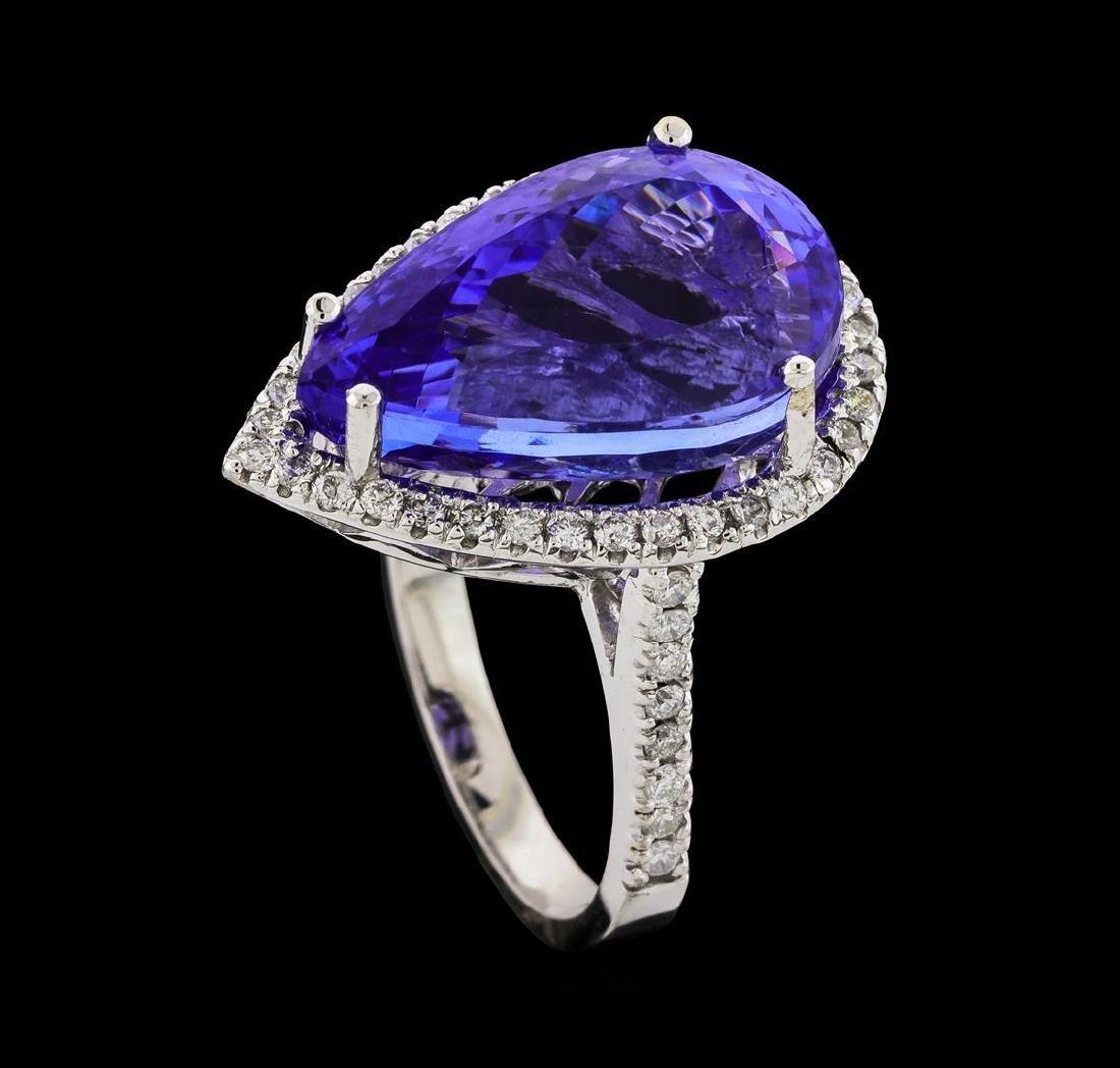 GIA Cert 14.31 ctw Tanzanite and Diamond Ring - 14KT - 4