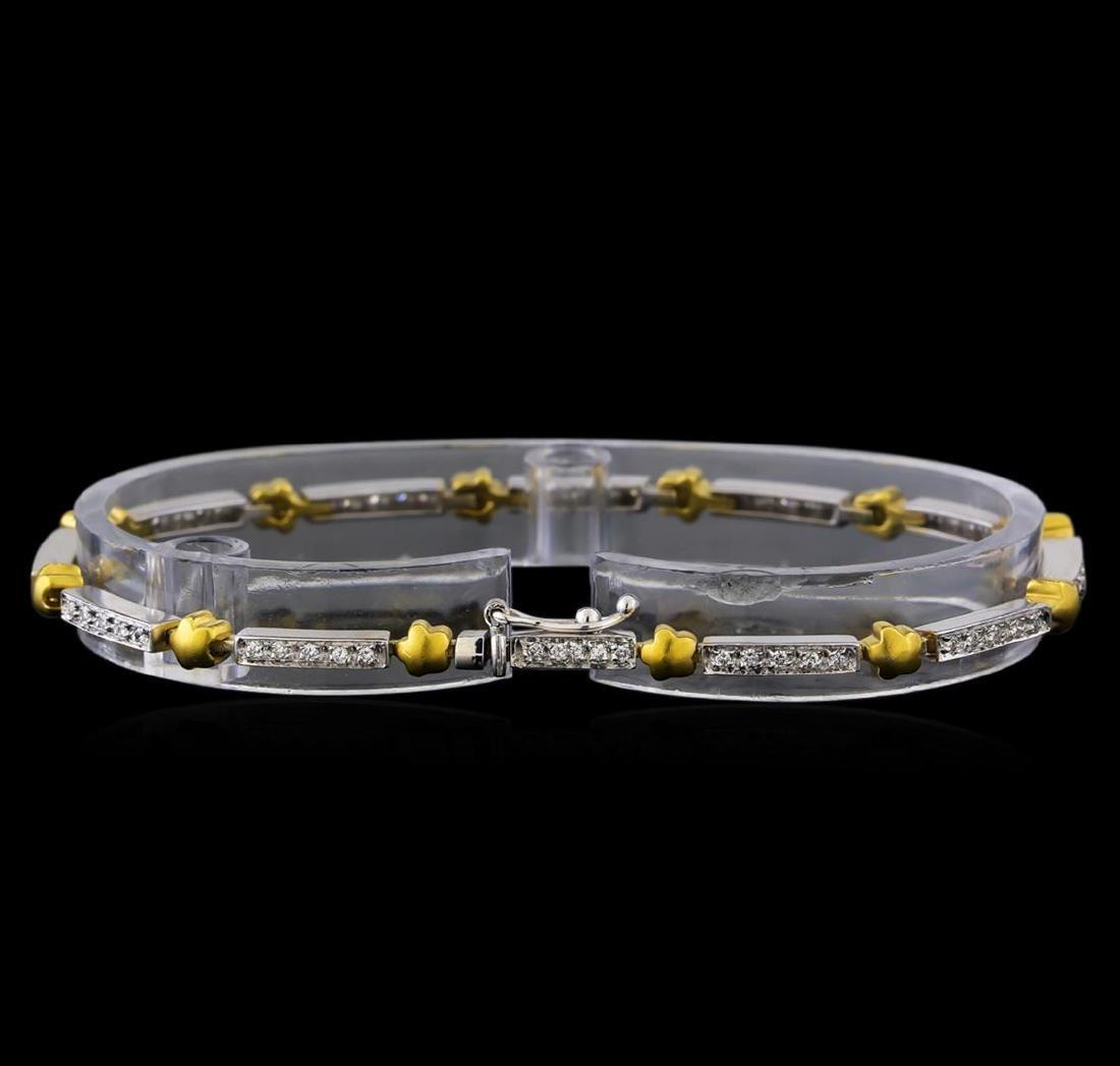 0.56 ctw Diamond Bracelet - 18KT White and Yellow Gold - 2