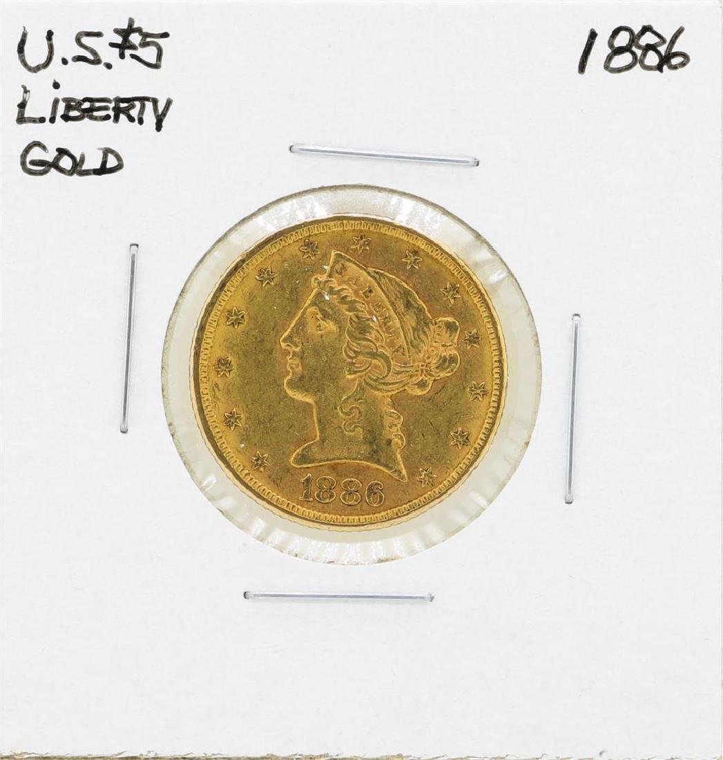 1886 $5 Liberty Head Half Eagle Gold Coin