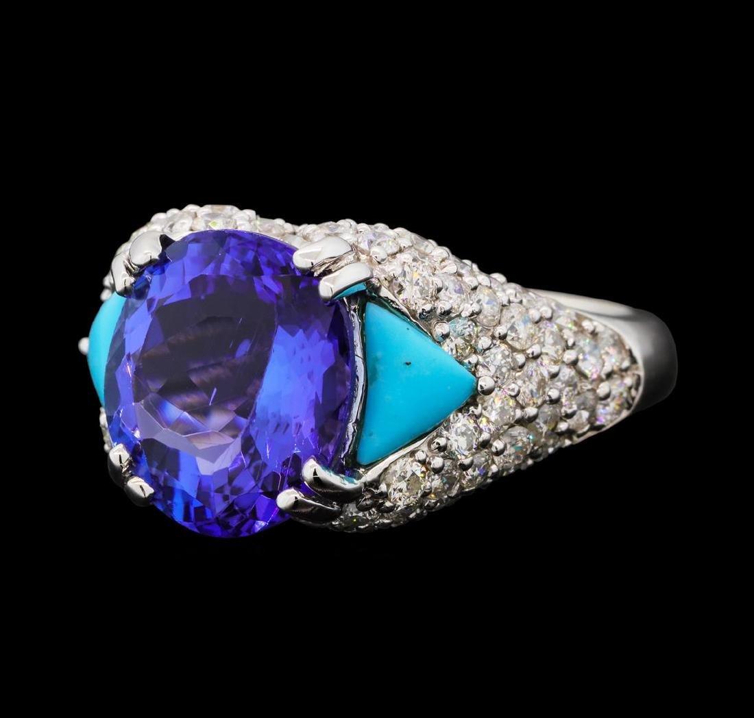 5.47 ctw Tanzanite, Turquoise and Diamond Ring - 14KT