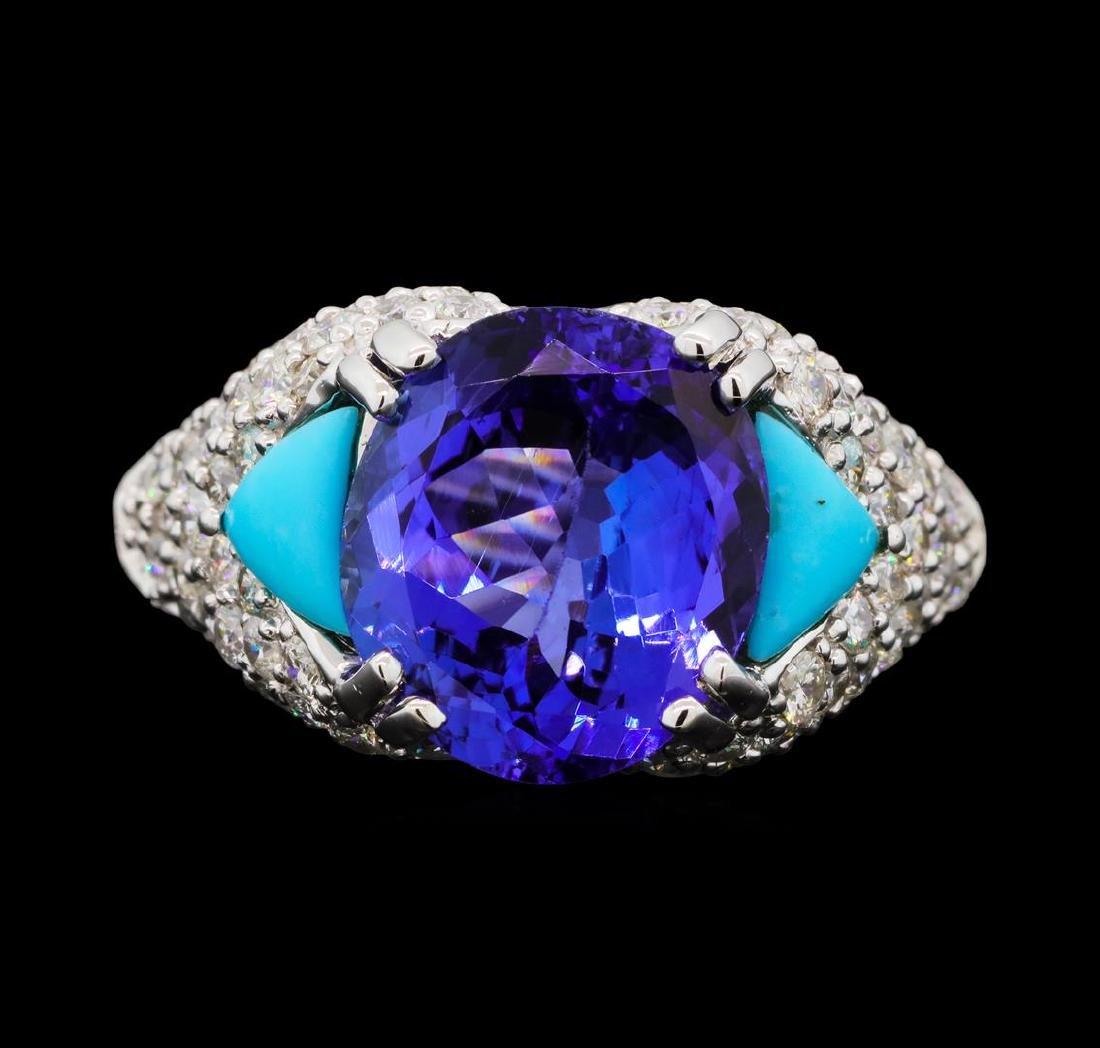 5.47 ctw Tanzanite, Turquoise and Diamond Ring - 14KT - 2